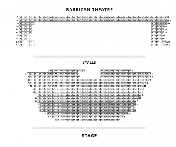 Barbican Theatre seating plan