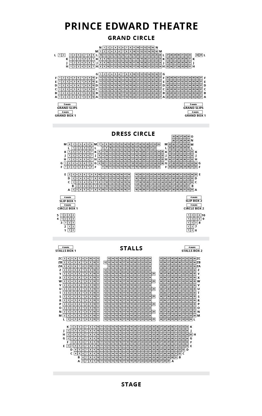 Prince Edward Theatre seating plan